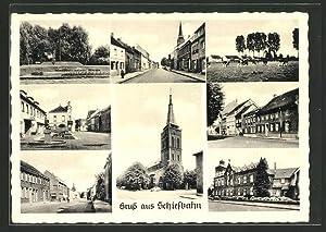 Ansichtskarte Schiefbahn, Strassenpartie, Kirche, Anlagen