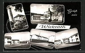 Ansichtskarte Wickrath, Ortspartie mit Glockenturm und Neubauten