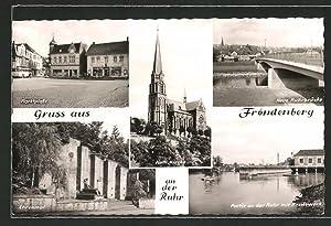 Ansichtskarte Fröndenberg, Marktplatz, Kath. Kirche, Neue Ruhrbrücke,