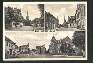 Ansichtskarte Schiefbahn, Strassenpartien mit Blick zur Kirche,