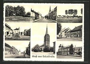 Ansichtskarte Schiefbahn, Kirche, Parkanlage, Strassenpartie