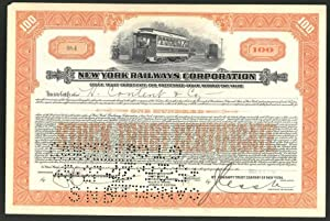 Aktie von New York Railways Corporation, New York 1926, 100 Anteile, Strassenbahn, Tram Triebwage...
