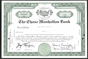 Aktie von The Chase Manhattan Bank, New York 1961, 8 Anteile, Firmenlogo, Ornamente
