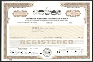 Aktie von Southeastern Pennsylvania Transportation Authority, 1986, 100.000 US-Dollar, Eisenbahn,...