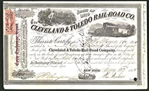 Aktie von The Cleveland, Toleödo Railroad Co., New York 1869, 100 Anteile, Landvermesser planen E...