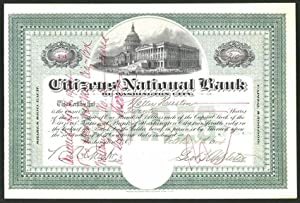 Aktie von Citizens' National Bank of Washington City, Washington D.C. 1904, 20 Anteile, Capitol v...