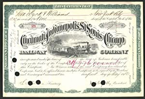 Aktie von Cincinnati, Indianapolis, St. Louis and Chicago Railway Company, Cincinnati 1880, 9 Ant...