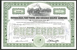 Aktie von Pittsburgh, Fort Wayne and Chicago Railway Company, 1973, 10 Anteile, Landvermesser neb...