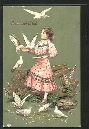 Präge-Ansichtskarte Srdecné prání, Mädchen füttert Tauben, Namenstag