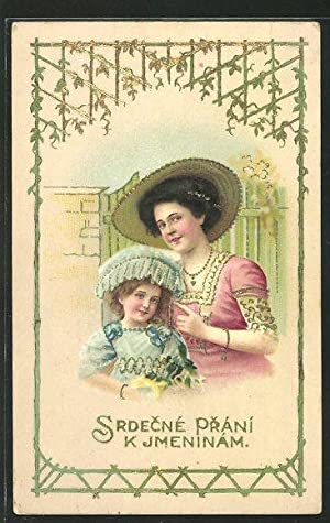Ansichtskarte braunhaarige Frau mit Hut, Mädchen mit