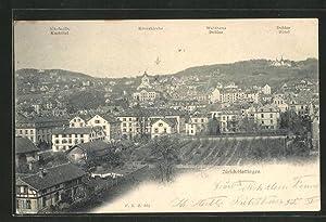 Ansichtskarte Zürich-Hottingen, Panorama mit Kurhotel, Kreuzkirche, Waldhaus
