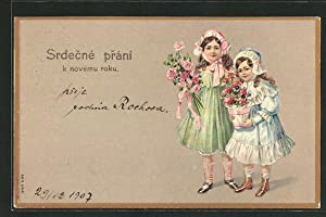 Ansichtskarte Mädchen mit Blumenstrauss und Blumentopf, Srdecné