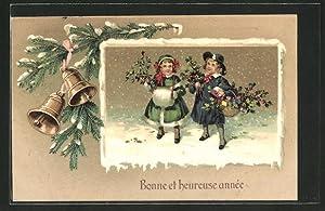 """Präge-Ansichtskarte """"Bonne et heureuse année"""", Kinder mit"""