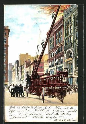Ansichtskarte Hook an Ladder in Action, Feuerwehr