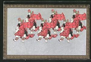 Ansichtskarte Samurais beim Kampfsport