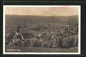 Ansichtskarte Menzingen, Ortsansicht mit Rigi