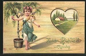 Holzbrand-Imitations-Ansichtskarte Mädchen mit Rosen im Haar, Blick