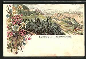 Lithographie Semmering, Teilansicht mit Bergpanorama