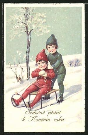 Ansichtskarte Kinder fahren auf einem Schlitten einen