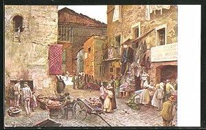 Cartolina Roma, La via Rua, in fondo