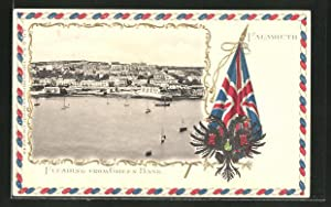 Präge-Postcard Falmouth, Flushing from Green Bank, Wappen
