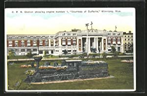 Postcard Winnipeg, C.P.R. Station showing engine number