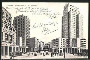 Cartolina Genova, Piazza Dante ed ii due