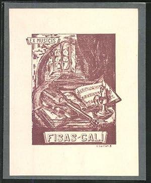 Exlibris Fisas-Cali, Ex Musicis, Violine auf Notenheft