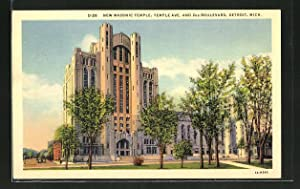 Ansichtskarte Detroit, MI, Masonic Temple, Ansicht der Freimaurerloge, Temple Avenue and 2nd Boul...