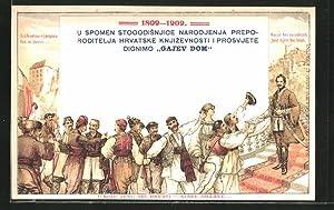 Ansichtskarte Ljudevit Gaj, Begründer der kroat. Schriftsprache