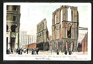 Ansichtskarte San Francisco, Cal., Masonic Temple after the fire of April 18th 1906, Abgebrannte ...