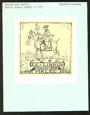 Exlibris von Anton Kubat für Frantisek Malec,
