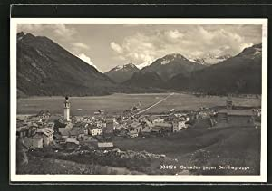 Ansichtskarte Samaden, Ortspartie gegen Berninagruppe