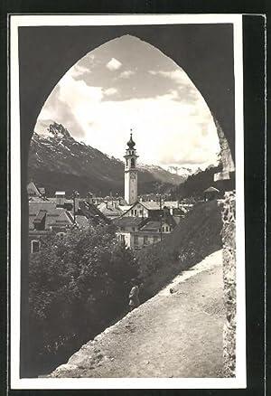 Ansichtskarte Samaden, Ortspartie mit Kirche
