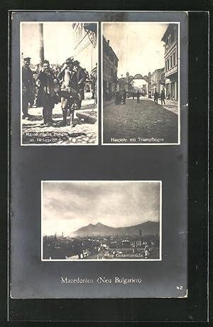Ansichtskarte Prilep, Mazedonische Händler im Türkenviertel, Hauptstrasse
