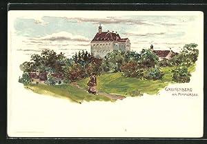 Lithographie Greifenberg am Ammersee, Teilansicht vom Dorf
