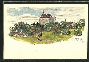 Lithographie Greifenberg / Ammersee, Blick zum Schloss