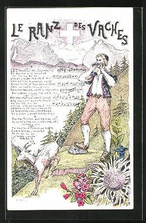 """Ansichtskarte Schweizer Lied """"Le Ranz des Vaches"""""""