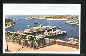 Ansichtskarte Malta, Saluting Battery and View of Grand Harbour