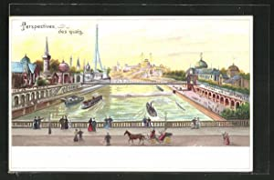 Lithographie Paris, Exposition universelle de 1900, Perspectives des quais