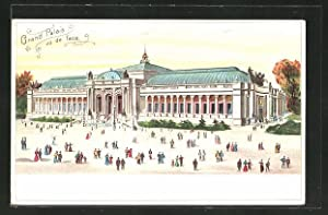 Lithographie Paris, Exposition universelle de 1900, Grand Palais vue de face