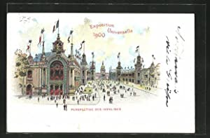 Lithographie Paris, Exposition universelle de 1900, Perspective des Invalides