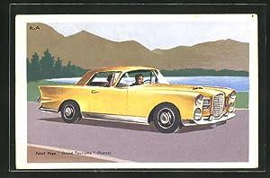 Ansichtskarte Paar in einem gelben Facel Vega