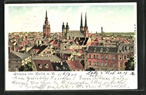 Lithographie Halle / Saale, Totalansicht