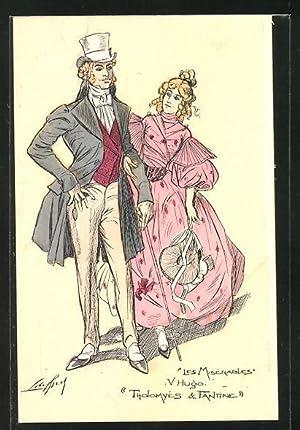 Künstler-Ansichtskarte Victor Hugo, Les Miserables, Tholomyés, Fantine