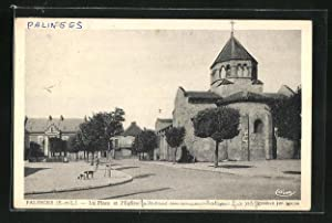 Carte postale Palinges, La Place et l`Eglise