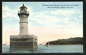 Ansichtskarte Pacific Coast Entrance to the Panama Canal, showing Range Lights, Leuchttürme
