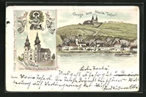 Lithographie Maria Taferl, Ortsansicht mit Marbach, Kirche