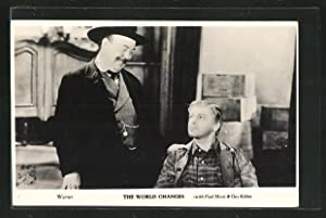 Ansichtskarte Schauspieler Paul Muni, Schauspieler Guy Kibbee in The World Changes