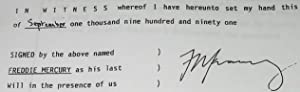 Freddie Mercury's Last Will & Testament: Freddie Mercury - [hand-signed]